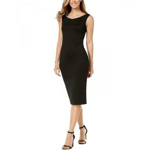 NEW Calvin Klein Pearl Trim Scuba Dress Black 6